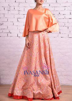 Vasansi Orange Silk Crop Set Lehenga