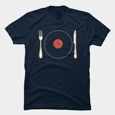 Vinyl Food T Shirt By Koning Design By Humans #food #vinyl #t-shirt #illustration #music