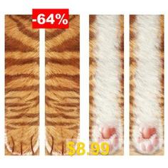 Unisex #Adult #Animal #Paw #Print #Crew #Socks #Creative #3D #Printing #Stockings #- #GOLDENROD