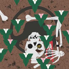 Skeleton - Charley Harper #skeleton #phone #charley #cell #illustration #car #harper #death