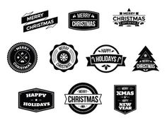 Christmas Badges Logo Pack You can download it here: http://graphicriver.net/item/christmas-badges-logo-pack/9626932?ref=abradesign #hipster #christmas #badges #logo #download