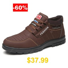 AILADUN #Men #Low-top #Casual #Warm #Shoes #Retro #Striped #Upper #Middle-aged #Footwear #- #BROWN