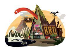 Jasper's Jurassic BBQ #christpher #lee #dino #illustration #bbq