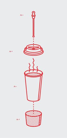 mkn design Michael Nÿkamp #illustration #cup #coffee #sketch #drawing #heat #hot #sleeve #line drawing #exploded #tone #fig #lid #stopper