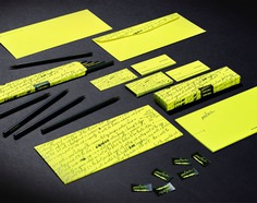 Fine Line Writers Identity - Mindsparkle Mag The White Room created an identity and direct mail piece making use of a vibrant yellow. Central to the mailer was a box of all-black pencils, each inscribed with wording referencing some special project the writer had completed in the past. #logo #packaging #identity #branding #design #color #photography #graphic #design #gallery #blog #project #mindsparkle #mag #beautiful #portfolio #designer