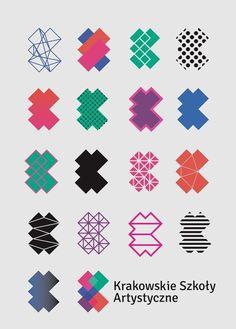 I'm really attracted to the abstract  Logos by Nina Gregier |proste kreski| for Krakowskie Szkoły Artystyczne