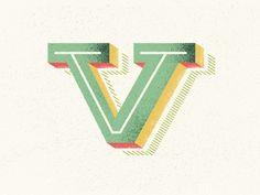 Dribbble - self_logo by Olga Vasik #vector #v #texture #letter #typography