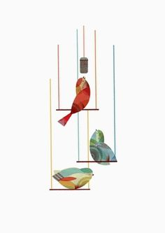 Minimart — AGENT PEKKA #red #primary #lines #bird #poster #blue