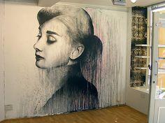 Audrey Hepburn - Mural painting #hepburn #streetart #graffiti #running #paint #indoor #art #street #audrey #slow #ben