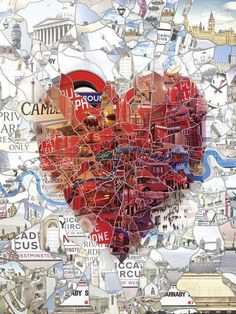 Editorial Illustrations 2011-2012 on the Behance Network #heart #london #city #map #landmarks #illustration #collage