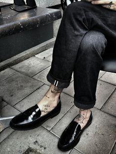 blackistheonlycolor:I ❤ my Saint Laurent Paris loafers.xxx