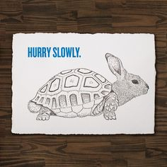 The Rabburtle, by Cecilia Hedin #stress #rabburtle #print #letterpress #hybrid #turtle #postcard #rabbit #animal
