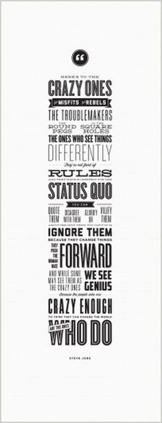 Here's to the Crazy Ones - Letterpress Poster - Steve Jobs #typography #type #poster #quote #steve jobs