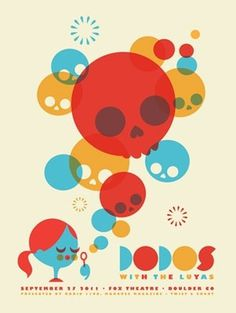 Dodos Signed Limited Edition Screen Print Poster Fox Theatre | Dan Stiles #illustration #skulls #minimal #poster