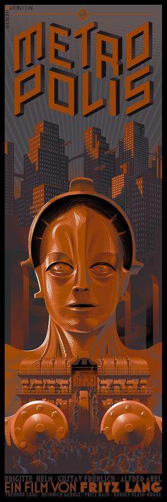 Laurent Durieux #illustration #vintage #poster #film #cityscape #science fiction #robot #future #metropolis