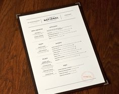 Art of the Menu: The National STAMP? simple, #white #menu #orange #black #clean #minimal