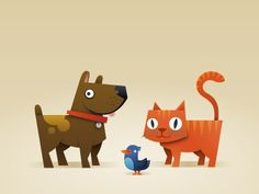 Dribbble - Cats 'n' Dogs... and a bird! by Bram Zwinnen [ZWAM] #illustration #vector #cat #dog