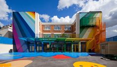 Kindergarten Ecole Maternelle Pajol amazing artistic exterior #bright #architecture #art #exterior #buildings