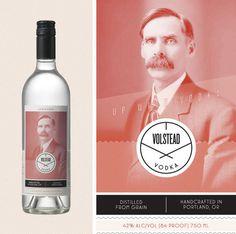 Volstead Vodka | Namesake #branding #bottle #packaging #liquor #label #vodka