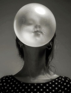 photography, black and white, bubble, gum