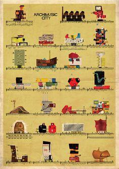 ARCHIMUSIC - federico babina #retro #federico #babina #architecture #poster #music #archimusic