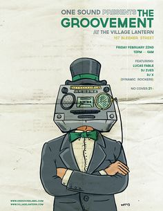 """The Groovement"" Flyers on Behance #poster #illustration #stereo #head #groove #surreal #art #design #sound #suit"