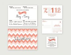 A Sweet Spirit #invitation #flag #peach #chevron #wedding
