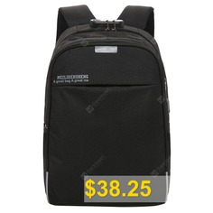 USB #Charging #Hole #Men's #Backpack #with #Solid #Color #Combination #Lock #and #Wide #Shoulder #Straps #- #BLACK