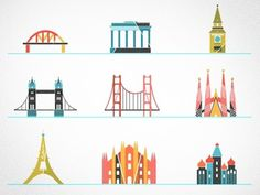 Dribbble - Little landmarks by kellianderson #kellianderson #color #icons #anderson #buildings #kelli