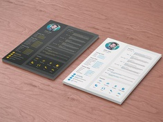 Free Flat Style Resume Template in PSD File format
