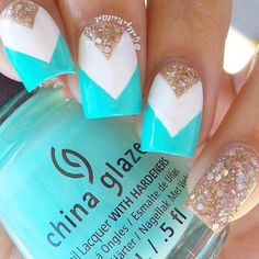 Skyblue white and rhinestones Chevron nail art