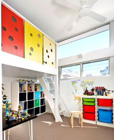 Colourful and Open Family Home by Elaine Richardson Architects intense color elements kids room #kids #design #room
