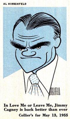 Today's Inspiration #50s #jimmy cagney illustration #al hirschfeld
