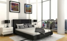 Landscape paintings in modern bedroom #interior #paintings #bedroom #decor #art #painting