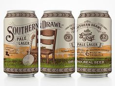 Great Raft Brewing Southern Drawl Cans #packaging #beer #cans