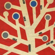 grain edit · 1960s modern Czech street map #print #mid #map #century