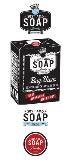 Just Add Soap Branding By Rev Pop #badge #milwaukee #pop #laundry #scott #brand #soap #service #starr #rev #logo