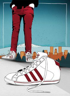 Adidas in Portland - marianapoczapski #illustration #adidas #portland #shoes