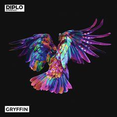 Gryffin - Diplo & Friends Mix Artwork by Quentin Deronzier  #visual #artwork #bird #colors
