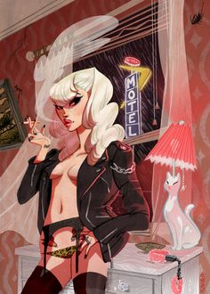 No Tell Motel by babsdraws on deviantART #motel #sexy chick