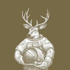 #deer #illustration #astronaut