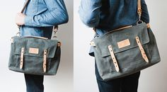 WAXED CANVAS MESSENGER BAG (CHARCOAL) | Ugmonk #bag #product photography #messenger bag #leather #canvas #waxed canvas #ugmonk