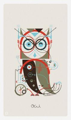 Leandro Castelao #vector #owl #geometric