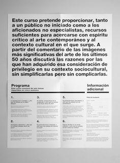 Todo lo que usted siempre quiso saber sobre arte y nadie le explicó | Sublima Comunicación #sublima #cendeac #contemporary #handmade #art #helvetica #brochure