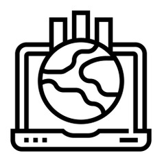 See more icon inspiration related to laptop, global, globe, business and finance, bar graph, network, statistics, earth, connection and computer on Flaticon.