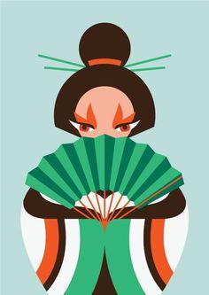 Geisha #flat #japanese #geometric #illustration #geisha #japan