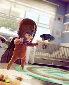Baby Magneto, Kid Captain America in This Artist's Comic Book Universe - DesignTAXI.com #cgi #character
