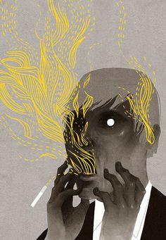 Patrycja Podkoscielny #man #illustration #smoking