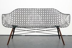 The Eames Sofa is finally here with Matthew Strong's innovative take on an iconic design. The carbon fiber sofa provides both durability and #modern #design #home #product #furniture #industrial #style