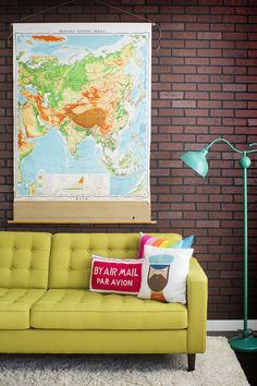 Home Decor #design #retro #decor #home #map #interiordesign #vintage